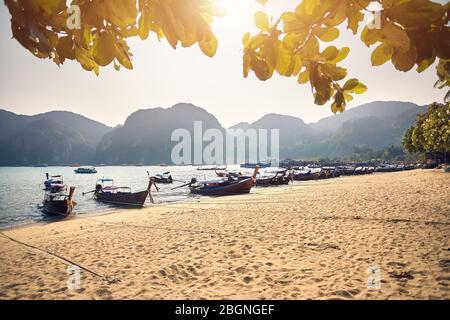 Long Tail boats on tropical beach au magnifique coucher de soleil sur Koh Phi Phi Island, Thaïlande
