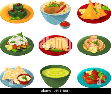 Ensemble de dessins animés de la cuisine indienne traditionnelle dans différents plats. Cuisine indienne délicieuse avec sauce et épicée. Illustration vectorielle