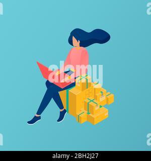 Vecteur d'une jeune femme travaillant sur ordinateur portable vendant des produits en ligne.