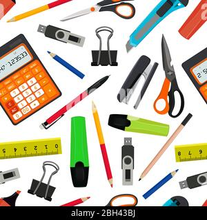 Vecteur de modèle transparent de différents accessoires scolaires. Retour à l'illustration de l'école. Accessoires pour le motif scolaire Banque D'Images