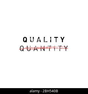 Qualité, pas quantité. Inscription de propagande de mode lente. Conception d'affiches et de bannières. Illustration vectorielle.