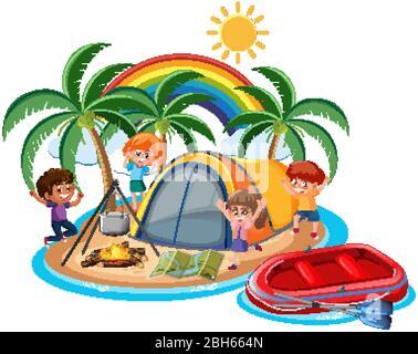 Scène avec de nombreux enfants campant sur l'illustration de l'île Banque D'Images