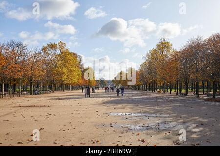 PARIS - 7 NOVEMBRE 2019: Jardin des Tuileries, grande promenade avec les gens dans une journée ensoleillée d'automne à Paris Banque D'Images