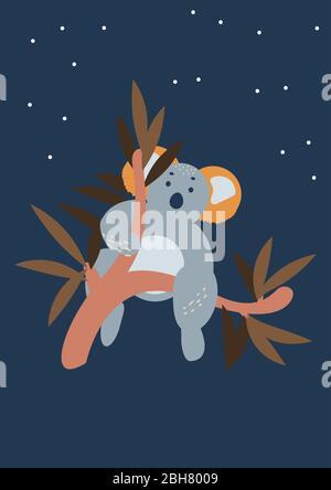 Joli ours koala à imprimé poster vertical sur les eucalyptus. Banque D'Images