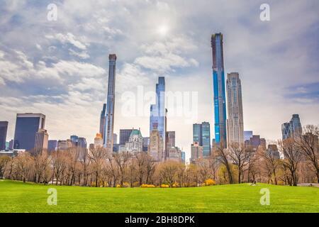 USA, New York, Manhattan, Central Park, Midtown Skyline