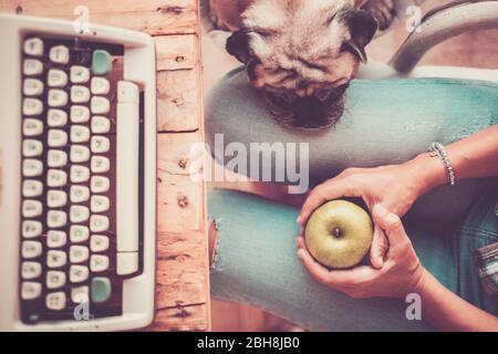 Meilleur ami vieux beau beau pug dormir sur la jambe de sa femme propriétaire à la maison tout en travaillant avec une ancienne machine à écrire - personnes et amitié alternative concept de famille - filtre vintage Banque D'Images
