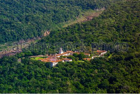 Vue aérienne, Belmond Hotel das Cataratas, Parc national d'Iguaçu, chutes d'Iguazu, Brésil. Banque D'Images