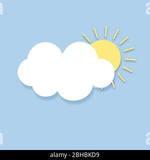 Des icônes de météo modernes sont définies. Symboles vectoriels plats sur fond sombre. Icône Sun Cloud. Banque D'Images