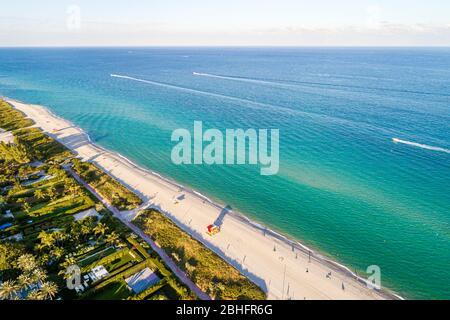 Florida Miami Beach Océan Atlantique public aérien oeil d'oiseau Vue sur North Beach, surf sur sable