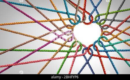 L'unité et l'amour du partenariat comme cordes façonnées comme un coeur dans un groupe de cordes diverses reliées ensemble façonnées comme un symbole de soutien exprimant. Banque D'Images