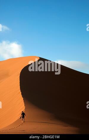 Personne grimpant sur une dune de sable à côté de Deadvlei, près de Sossusvlei, parc national du Namib-Naukluft, Namibie, Afrique Banque D'Images