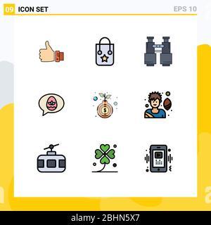 Ensemble de 9 icônes modernes d'interface utilisateur symboles signes pour pâques, chat, voyage, camping, recherche éléments de conception vectoriel éditable