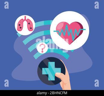 affiche de support médical en ligne avec des icônes de conception d'illustration vectorielle technologique