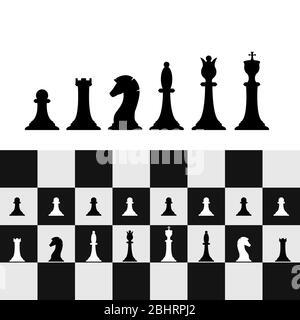 Jeu de pièces d'échecs sur chessboard. Stratégie et tactique des échecs. Illustration vectorielle Banque D'Images