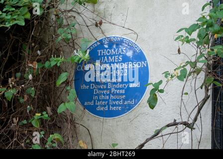The Doves Press Bindery Emery Walker Kelmscott Press Arts & Crafts plaque commémorative en pierre Hammersmith Terrace, Hammersmith, Londres W4 2PF
