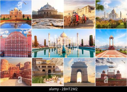Lieux célèbres de l'Inde dans le collage de photos Banque D'Images