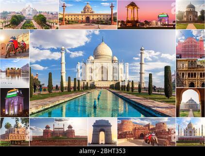 Inde collage photo, sites célèbres dans une seule photo Banque D'Images