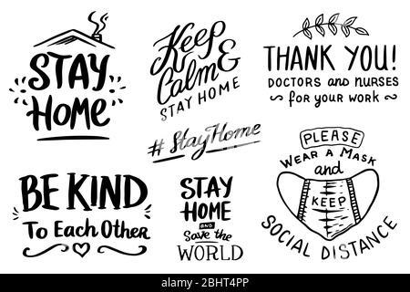 Coronavirus COVID-19. Hashtag rester à la maison. Ensemble de guillemets calligraphiques. Phrases de motivation. Maladie ou pandémie de Wuhan. Badges de quarantaine, emblèmes de virus