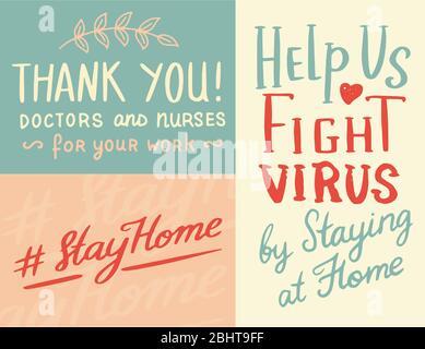 Coronavirus COVID-19. Hashtag rester à la maison. Citations calligraphiques. Phrases de motivation. Maladie ou pandémie de Wuhan. Badges de quarantaine, emblèmes de virus et