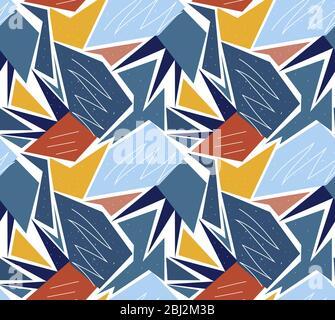 Motif géométrique sans couture rétro. Fond sans fin à la mode de feuilles de palmier, texture répétée. Illustration vectorielle Banque D'Images