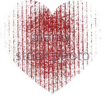 Grand cœur rouge avec une texture rayée. Éléments pour carte de vœux pour Saint Valentin. Illustration vectorielle. Banque D'Images