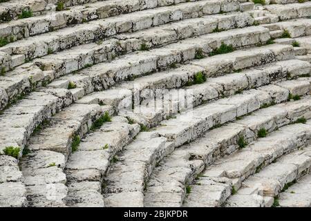 Théâtre grec ancien à Segesta, Sicile, Italie. Banque D'Images