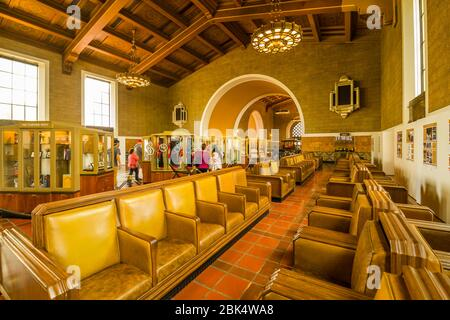 Vue de l'intérieur de la gare Union, Los Angeles, Californie, États-Unis d'Amérique, Amérique du Nord Banque D'Images
