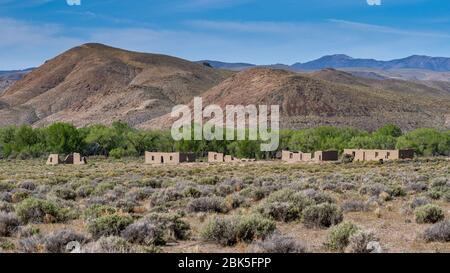 Fort Churchill, États-Unis, ruines d'un fort de l'armée des États-Unis et d'une gare routière sur la route Pony Express dans le comté de Lyon Nevada.