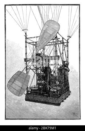 Albert et Gaston Tissandier dans leur télécabine électrique en 1883, le premier vol électrique