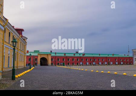 La monnaie de Saint-Pétersbourg dans la citadelle de la forteresse Pierre et Paul sur l'île de Lièvre de Zayachy, vue nocturne au crépuscule, Leningrad, Russie Banque D'Images