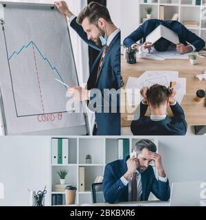 collage d'un homme d'affaires attentif se tenant près du tableau de conférence, en parlant sur smartphone, couvrant la tête avec un ordinateur portable Banque D'Images