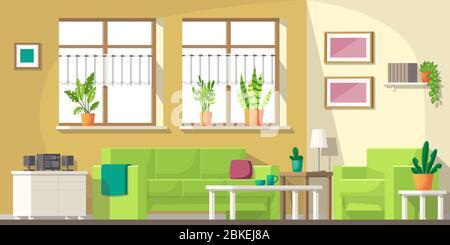 Salon avec mobilier et ustensiles. Illustration vectorielle avec calques séparés.