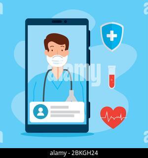 technologie de télémédecine avec médecin sur smartphone et icônes médicales