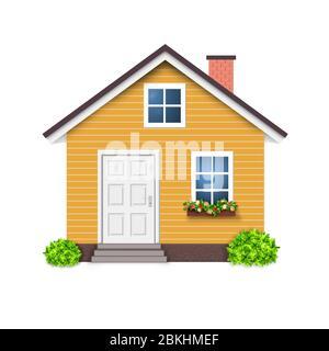 Maison orange icône couleur simipe isolé, Accueil Banque D'Images