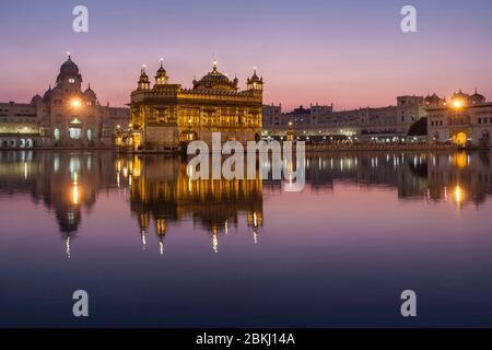 Inde, Punjab State, Amritsar, Harmandir Sahib, Temple d'Or, ilumé au crépuscule, avec réflexion dans le bassin du Nectar, Amrit Sarovar, lieu Saint du Sikhisme Banque D'Images