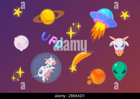 paquet d'autocollants ovnis plats dans un style fantasy. Illustration du jeu d'icônes Alien Doodle. Objet vectoriel espace froid. Vaisseau spatial, étrangers, vache, étoiles, comète, saturne, lune, mars clipart numérique. Banque D'Images