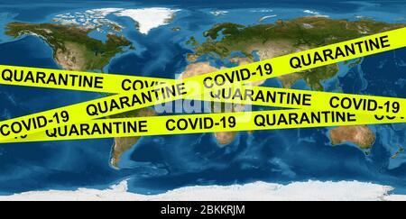 Concept de pandémie et de quarantaine du coronavirus COVID-19, bande de mise en garde sur la carte de la Terre. L'économie mondiale frappe par l'épidémie de virus corona, crise mondiale due à la COV Banque D'Images