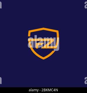 FZ F Z lettre Z logo Design dans le blindage. Illustrations du logo de l'icône vecteur de lettres modernes créatives. Banque D'Images