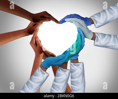 Les travailleurs communautaires et de la santé et les soins essentiels groupe médical ou médecine hospitalière font équipe en tant que groupe de médecins et d'infirmières qui se joignent ensemble. Banque D'Images