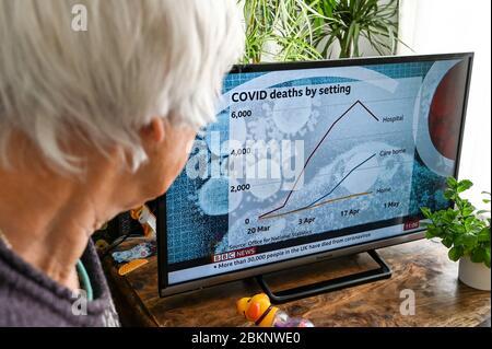 Une femme âgée regarde les nouvelles de la télévision avec un graphique montrant les décès au Royaume-Uni dans les hôpitaux, les maisons de soins et à la maison.