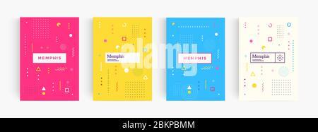 Affiche de style minimaliste abstrait coloré, fond géométrique memphis, modèle de couverture, motif créatif pour la couverture, brochure, prospectus. Affiche de dessin animé Banque D'Images