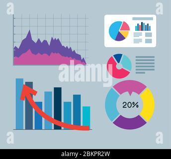 définir des infographies de la récupération financière Banque D'Images