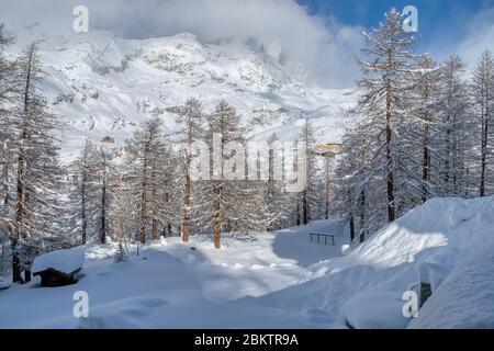 Admirez les Alpes italiennes et le Mont Cervin sous les nuages en décembre, Breuil-Cervinia, Valle d'Aoste, Italie Banque D'Images