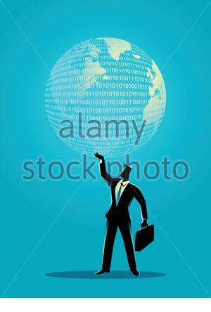 Illustration d'un concept d'entreprise tenant un globe numérique Banque D'Images