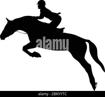 équestrianisme cavalier saut silhouette noire Banque D'Images