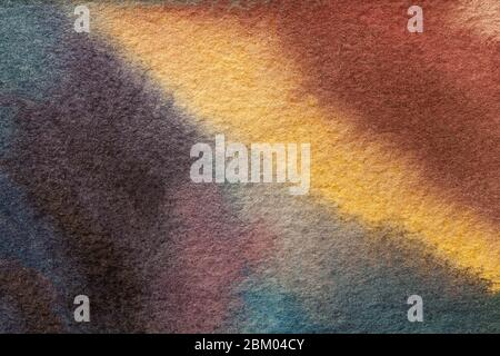 Arrière-plan art abstrait violet foncé et orange. Aquarelle sur toile avec dégradé jaune doux. Fragment d'illustration sur papier avec front Banque D'Images