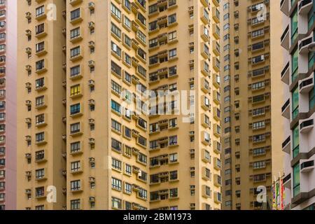 Île de Hong Kong, Hong Kong, Chine, Asie - proche d'un immeuble d'appartements densément peuplé à Hong Kong. Banque D'Images