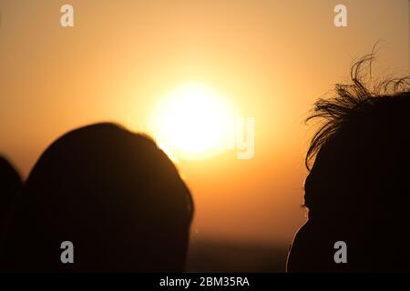 Coucher de soleil sur la rivière Chao Phraya à Bangkok