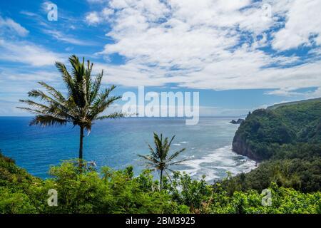 Hawaï depuis Pololu Valley Lookout, vue sur la côte de Kohala de Big Island