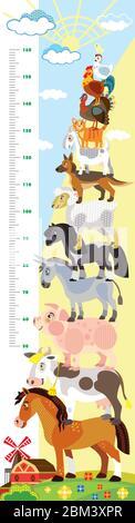 Hauteur mètre avec pyramide des animaux de ferme illustration de dessin animé vectoriel en style plat. Mesure de l'échelle verticale vectorielle avec des animaux mignons pour les enfants. Banque D'Images